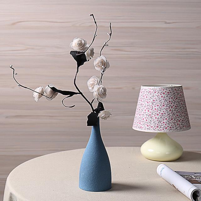 Ceramic Vase Flower Vase for Home Furnishing Model Room Decor Style Dry Ash Flower Vase 5 Shape 3 Color S