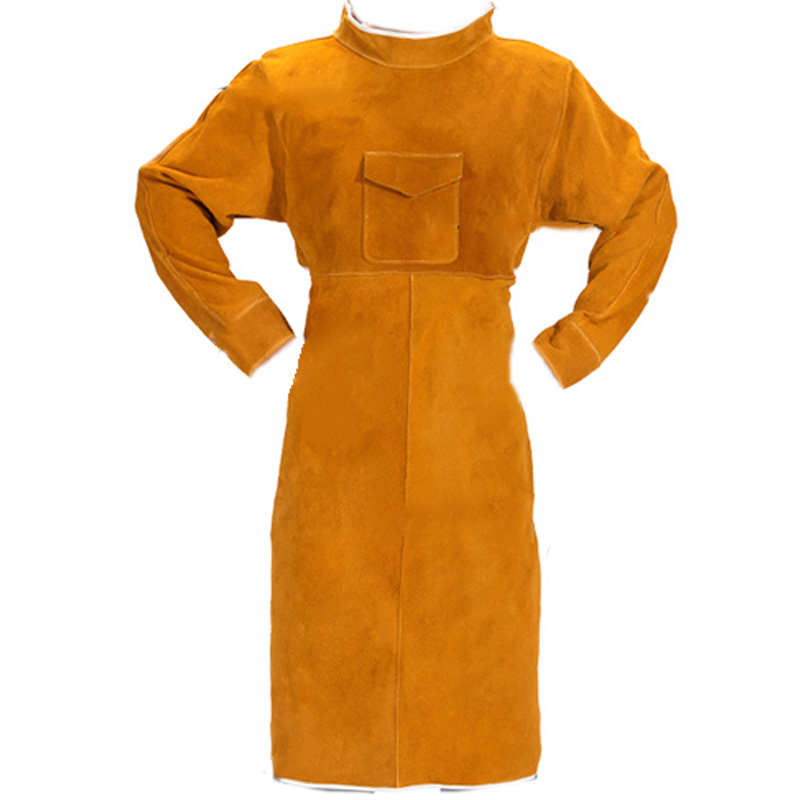 105cm Leather Welding Apron Flame Retardant Long Sleeve Welder Protective Clothing Durable Wear-Resistant Anti-Scalding Aprons