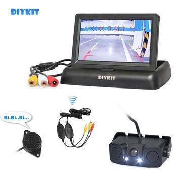 "DIYKIT Wireless 4.3"" Car Reversing Camera Kit Back Up Car Monitor Parking Radar Sensor 2 in 1 Car Camera Parking System"