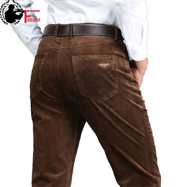 2020 Winter Spring Men Thick Trousers Brand Red Blue Loose Elastic Mens Corduroy Pants Male Long Straight Business Casual Dress