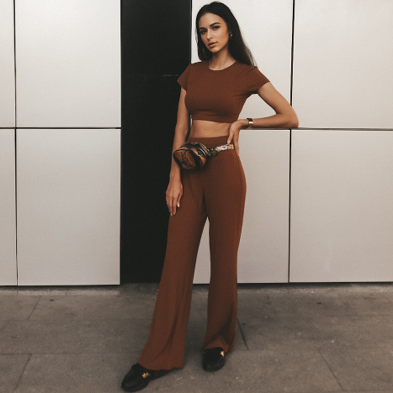 2 Two Piece Set Women Ribbed O Neck Crop Top and Long Pants Set Sexy Autumn Short Sleeve Tracksuit Women Conjunto Feminino 19 14