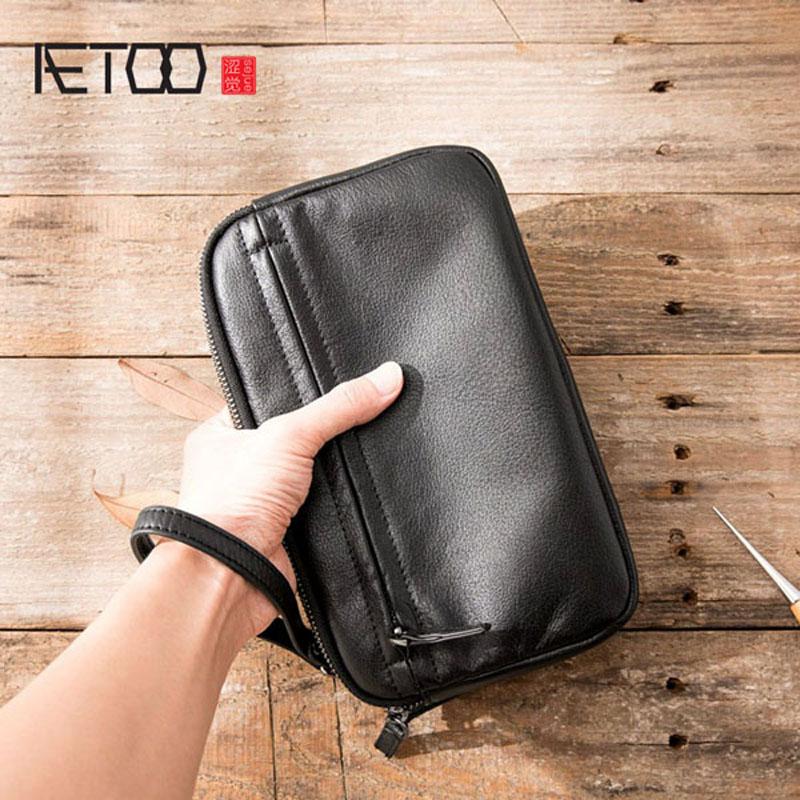 AETOO Retro Men's Handbag Men's Leather Leather Business Fashion Casual Bag Men's Bag Soft Leather Hand Men's Vintage Clutch Bag