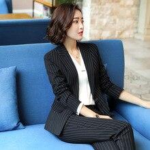 Women's Suit 2019 Autumn New Casual Fashion Temperament Slim Thin Stripe Single