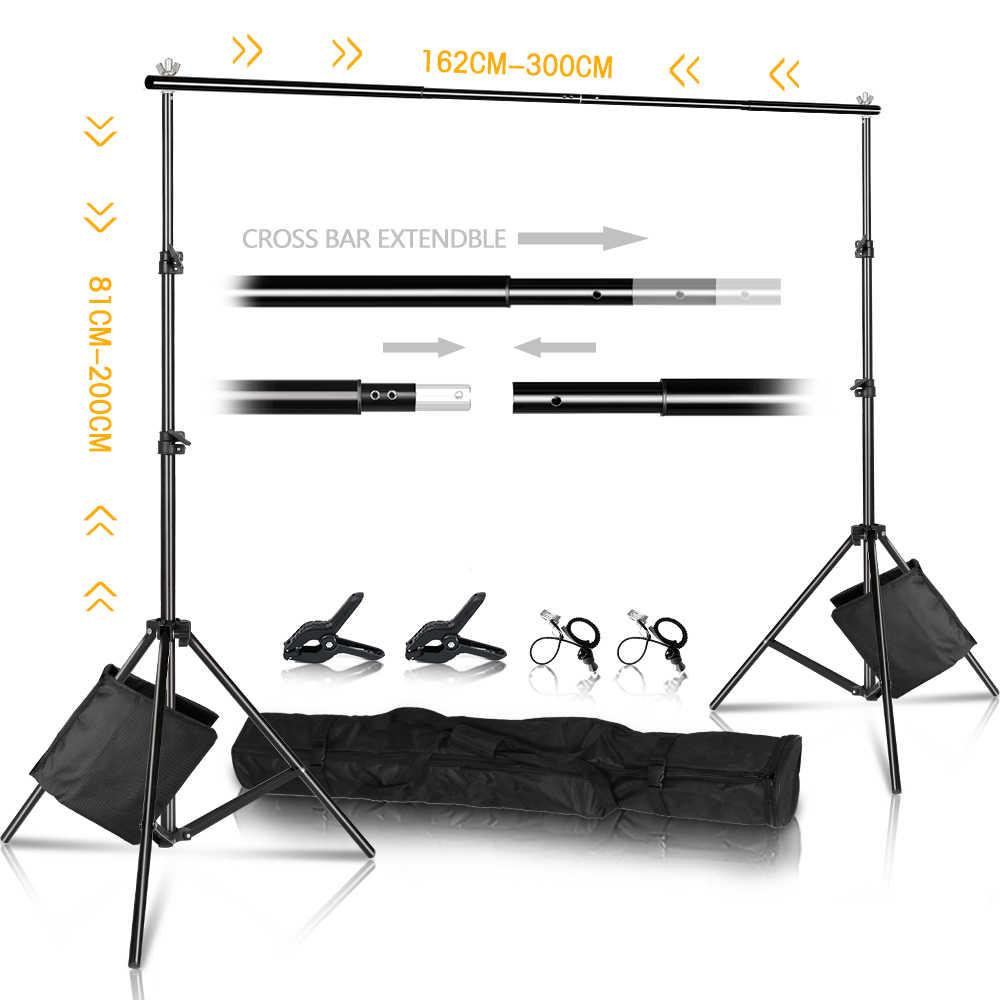 Soporte de fondo fotográfico de 2x3m, Kit de sistema de soporte de fondo ajustable para fondos de fotografía de estudio fotográfico, con bolsa de transporte