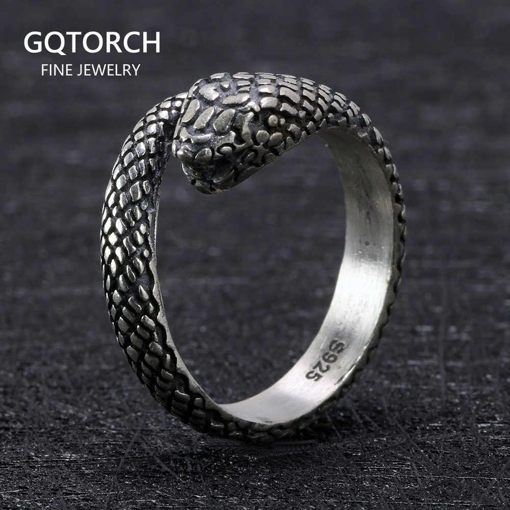 925 Sterling Silver Snake Skull Gothic Rings For Women and Men Antique Retro Punk Thai Silver Viking Rings Animal Jewelry
