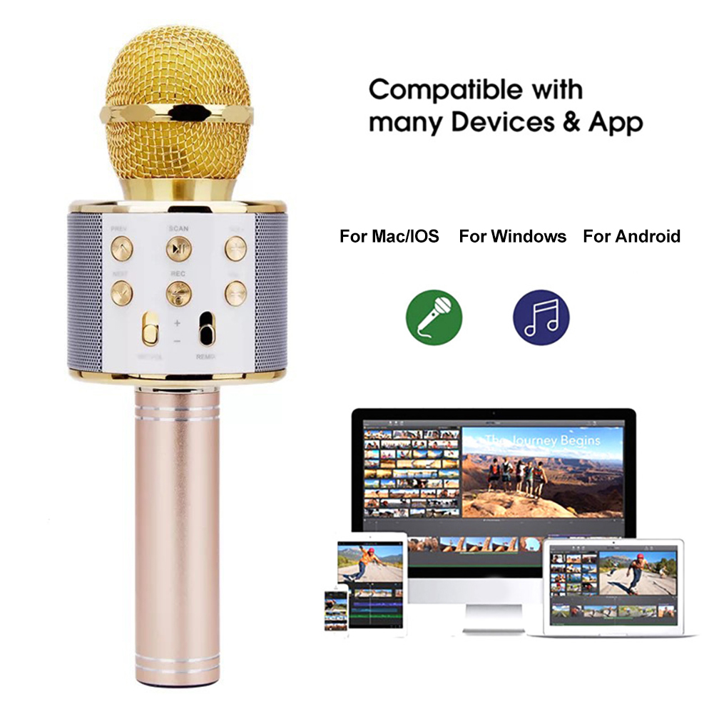 Профессиональный Bluetooth беспроводной микрофон динамик ручной микрофон караоке микрофон музыкальный плеер для вокала, с рекордером KTV микроф...