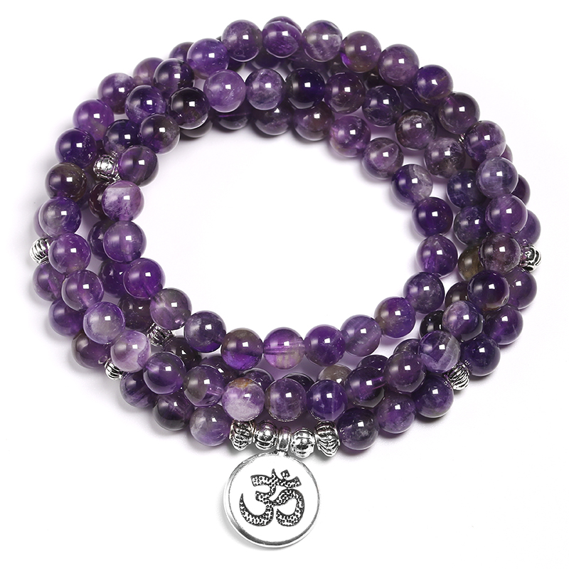 Natural Purple Crystal Amethysts Bracelet 6mm Beads Necklace Yoga 108 Mala Stone Bracelet For Women Lotus Energy Jewelry