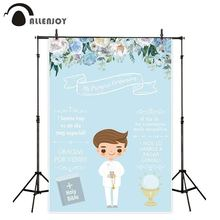 Allenjoy background for photography studio blue flower boy My first holy communion reception bible backdrop photophone photocall my first bible stories the nativity