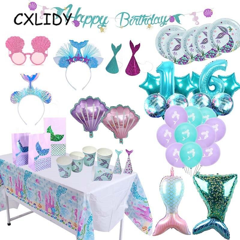 Принадлежности для вечевечерние русалки, столовая посуда на день рождения, аксессуары для вечевечерние в виде воздушного шара на день рожд...