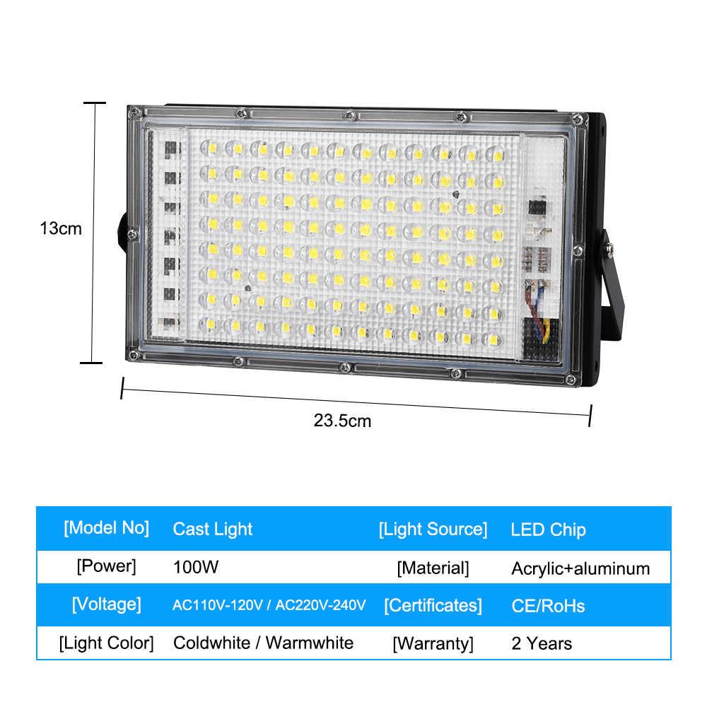 100W LED Banjir Cahaya AC 220V 230V 110V Lampu Sorot Outdoor Spotlight IP65 Tahan Air LED Lampu Jalan landscape Lighting