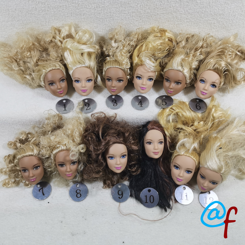 B16-1 Original Foreign Trade European Beauty Brown 1/6 OOAK NUDE Doll Head Mussed Many Hair For DIY Soft PVC Head