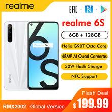Realme 6s rmx2002 6.5 fffhd + display smartphone 6gb 128 4300mah 30w flash carga 48mp quad câmeras android 10 nfc telefone móvel