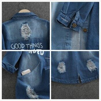 Plus Size 9XL Autumn Long Women's Denim Jacket Coat Hole Letter Oversize Casual Loose Jeans Jackets Female Outwear Windbreaker 4