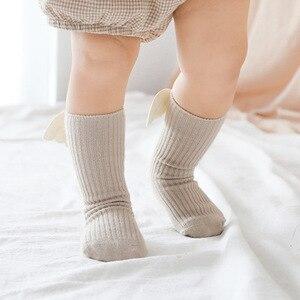 Image 5 - Baby Kids Socks Angel Wing Child Long Knee Sock For Girls Child Vertical Stripedr Hose Candy Color Toddler Sock For 0 5Y