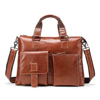 Leather Briefcases Men Leather Man Bag Business Casual Briefcase Handbag Messenger Bag Portable KUMON Laptop Briefcase