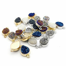 Natural Stone Teardrop 10X14MM Agat Pendants Double hole connector for Jewelry Making DIY Necklaces accessories 1pcs