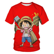 baby boy clothes 3D printed One Piece Monkey D Luffy children's T shirt summer fashion boys and girls simple harajuku streetwear stylish monkey king printed t shirt and pencil pants twinset for women