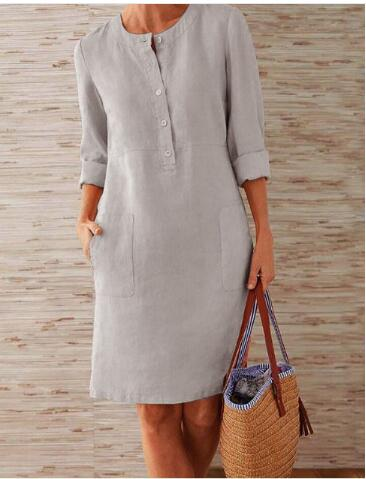 1 piece Cotton Linen three quarter sleeve female straight Midi Single Breasted Comfortable dresses for women платье летнее 4