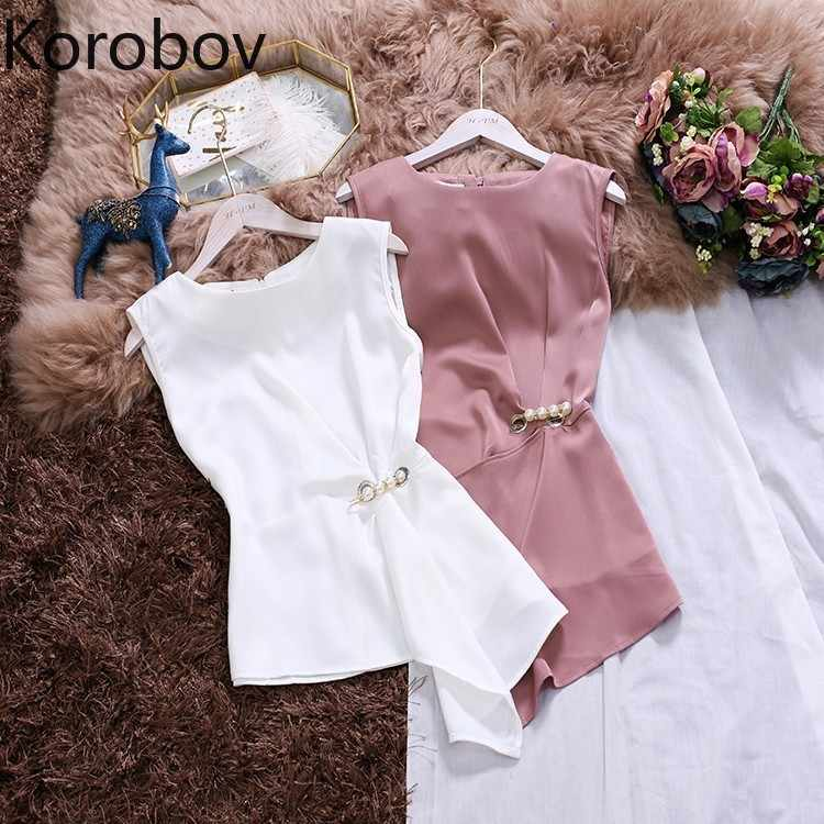 Korobov 2020 Summer New Korean Slim Women Tank Tops O Neck Irregular Chiffon Vest Elegant Pearls Tank Top 77796