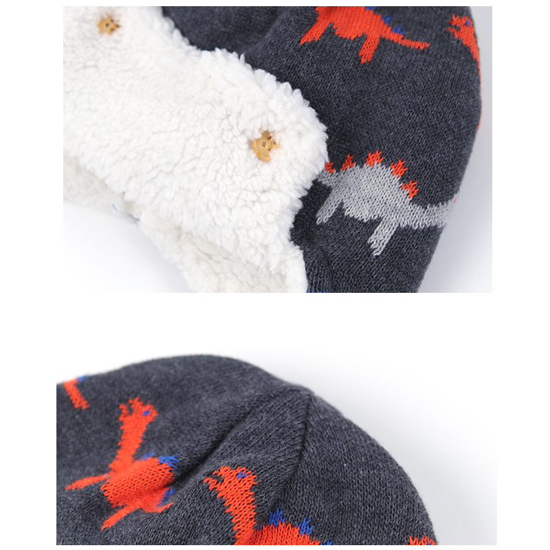 Bomber Hat Boy Winter Knit Beanie Kid Autumn Earflap Dinosaur Cute Warm Skiing Cotton Fleece Outdoor Accessory Toddler Baby in Men 39 s Skullies amp Beanies from Apparel Accessories