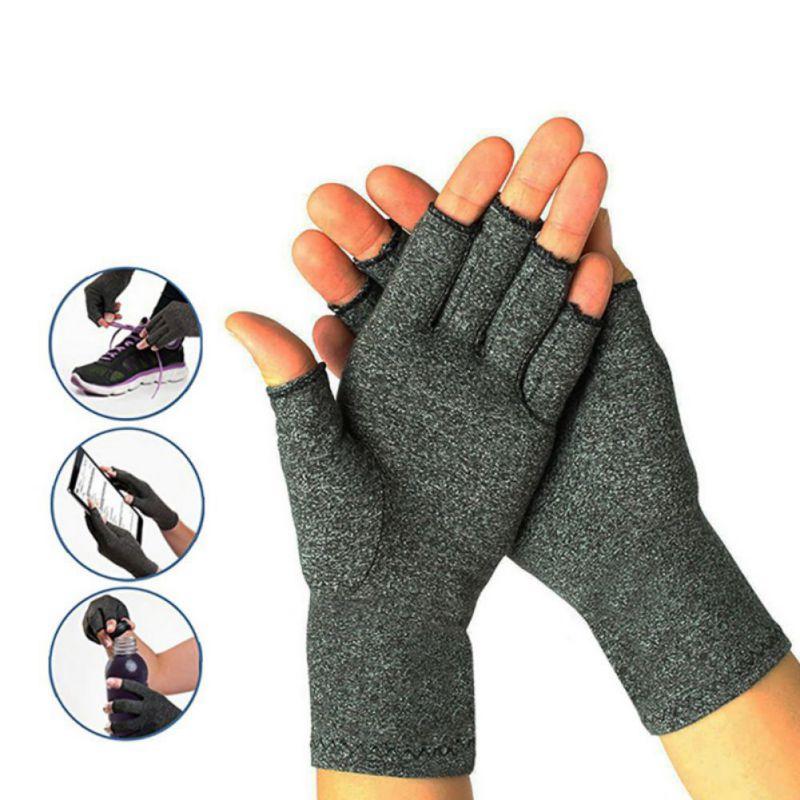 Cotton Spandex Gloves For Unisex Half Finger Compression Wear Gloves Arthritis Health Gloves Elastic Breathable Outdoor Gloves