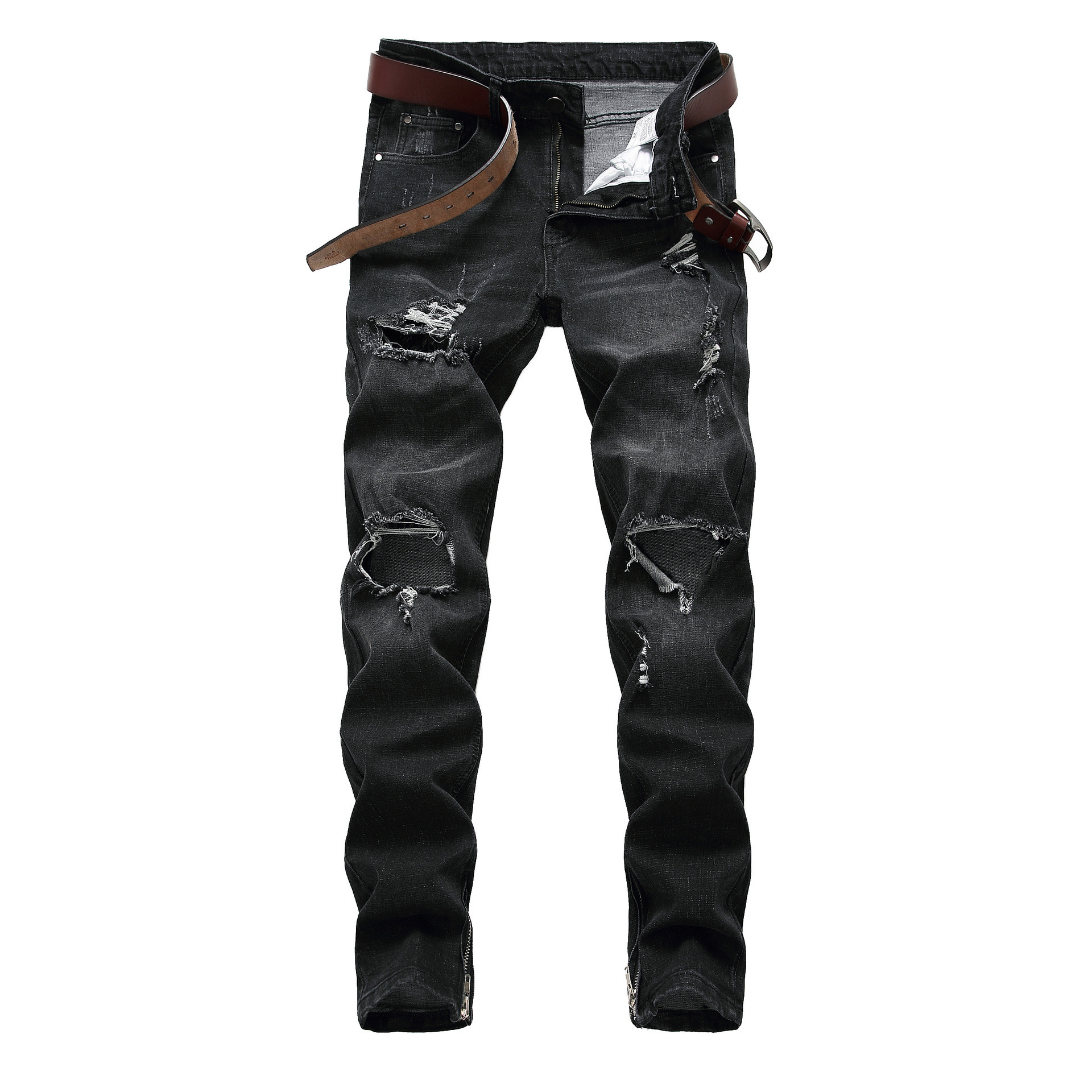 New Top Fashion Mens Jeans Brand Robin Hip Hop Autumn Winter Ripped Men Solid Cotton Full Length Mid Black Color Dropshipping
