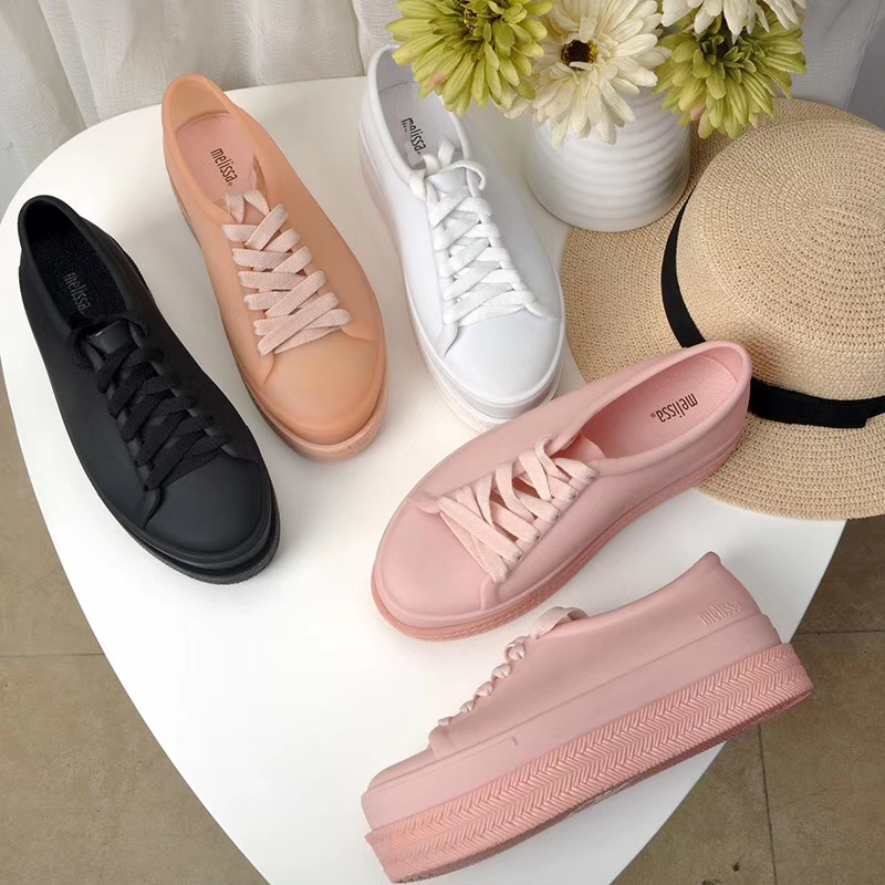 Melissa Spring Breathable Women Shoes Ladies Lace Up White Sneakers Shoes Valcanize Platform Fashion Sneakers Casual Match Shoe