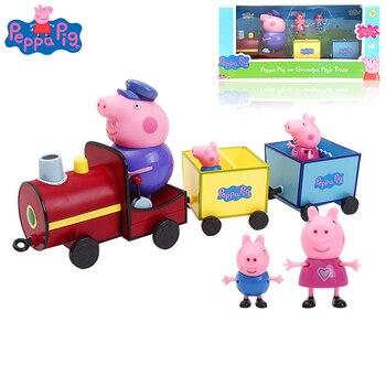 Figuras de acción de Peppa Pig, Set de juguetes para niñas, lampara para autobús escolar, coche, casa, sala de música, estudio, mesa, juguetes para cumpleaños