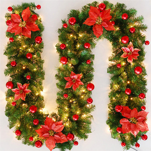 Image 4 - LED Christmas Artificial Garland Wreath 2.7m Green For Xmas Home Party Christmas Decor Rattan Hanging Wreath Garland Ornament