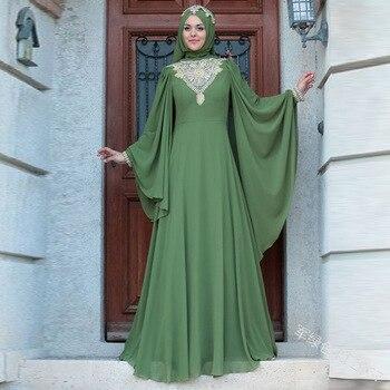 Abaya Dubai 2020 Muslim Dresses Printed High-waisted And Long-sleeved Flying Dress With Long Sleeves Bangladesh Dresses S-5XL