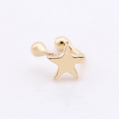 Europe and the United States hot  explosion retro five-pointed star love moon without ear piercing u-shaped earrings wholesale 2