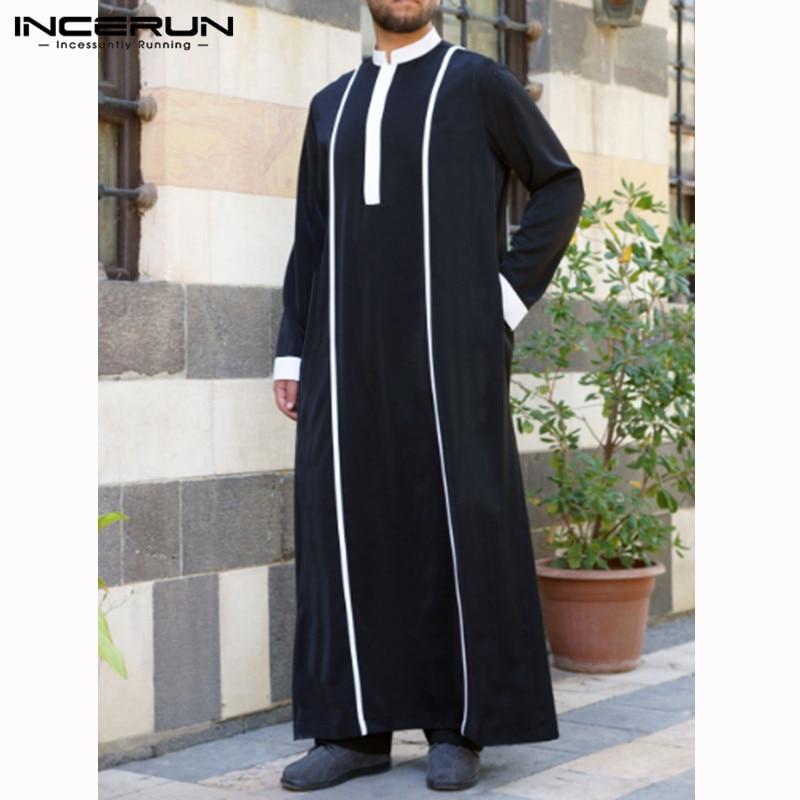INCERUN Arabic Islamic Kaftan Men Muslim Clothing Patchwork Long Sleeve Retro Robes Abaya Dubai Middle East Men Jubba Thobe 2019