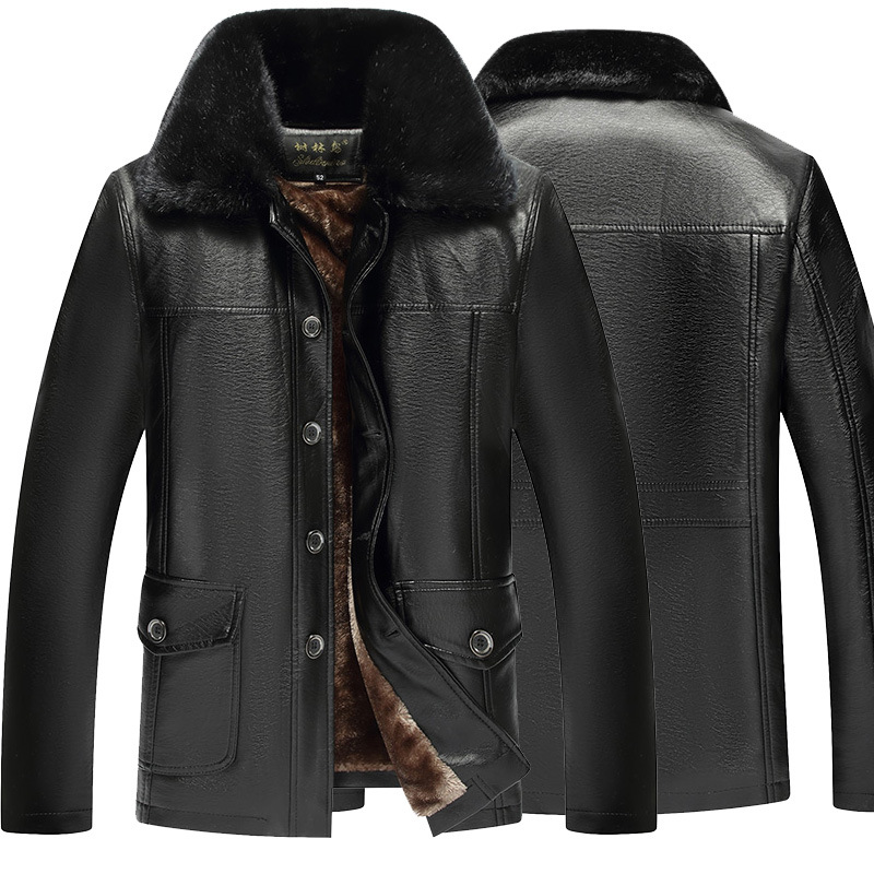 Woods Bird Casual Middle-aged Men Brushed And Thick Button Turn-down Collar Coat Leather Jacket
