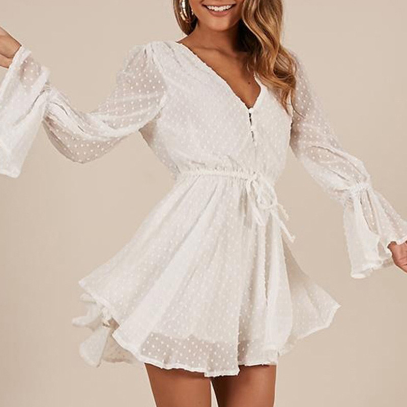 Women Chiffon Jumpsuit V Neck Long Sleeves Bell Cuff Button Dot Summer Casual Playsuit Rompers Fashion Elegant Ladies Party Wear