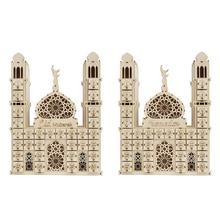 Eid mubarak decorations wooden islamic ramadan ornament laser cut ramadan calender wood crafts