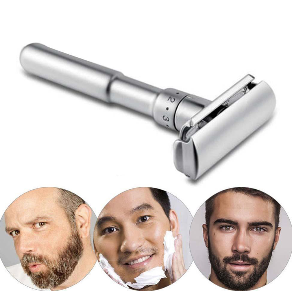 Men Adjustable Double Edge Shaving Zinc Alloy Safety Razor+5 Free Shaver Blades Razors Stainless Steel Razor Holder G0220