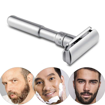 Men Adjustable Double Edge Shaving Zinc Alloy Safety Razor+5 Free Shaver Blades Razors Stainless Steel Razor Holder G0220