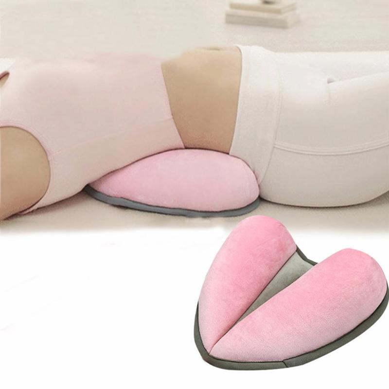 Heart Shape Relieve Belly Pressure Pillow Velvet Sponge Fill Breathable Mesh Cloth Yoga Waist Back Pillows Release Pain