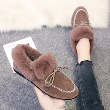 Winter Moccasin Shoes Women Flats Warm Fur Shoes Ladies Fashion Boat Shoes Female Slip On Flats Calzado Mujer Casual Cotton Shoe