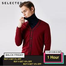 Selecionado 100% lã de manga comprida cardigan pulôver camisola de malha masculina roupas t