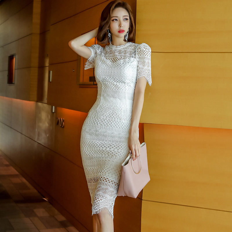 Set 2019 Summer New Products Debutante Elegant Tops + Slim Fit Lace Sheath Skirt Two-Piece Set