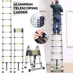 3,8 м лестница Телескопический алюминиевый сплав выдвижной Многофункциональный один раздвижная лестница складной регулируемый гипсокарто...