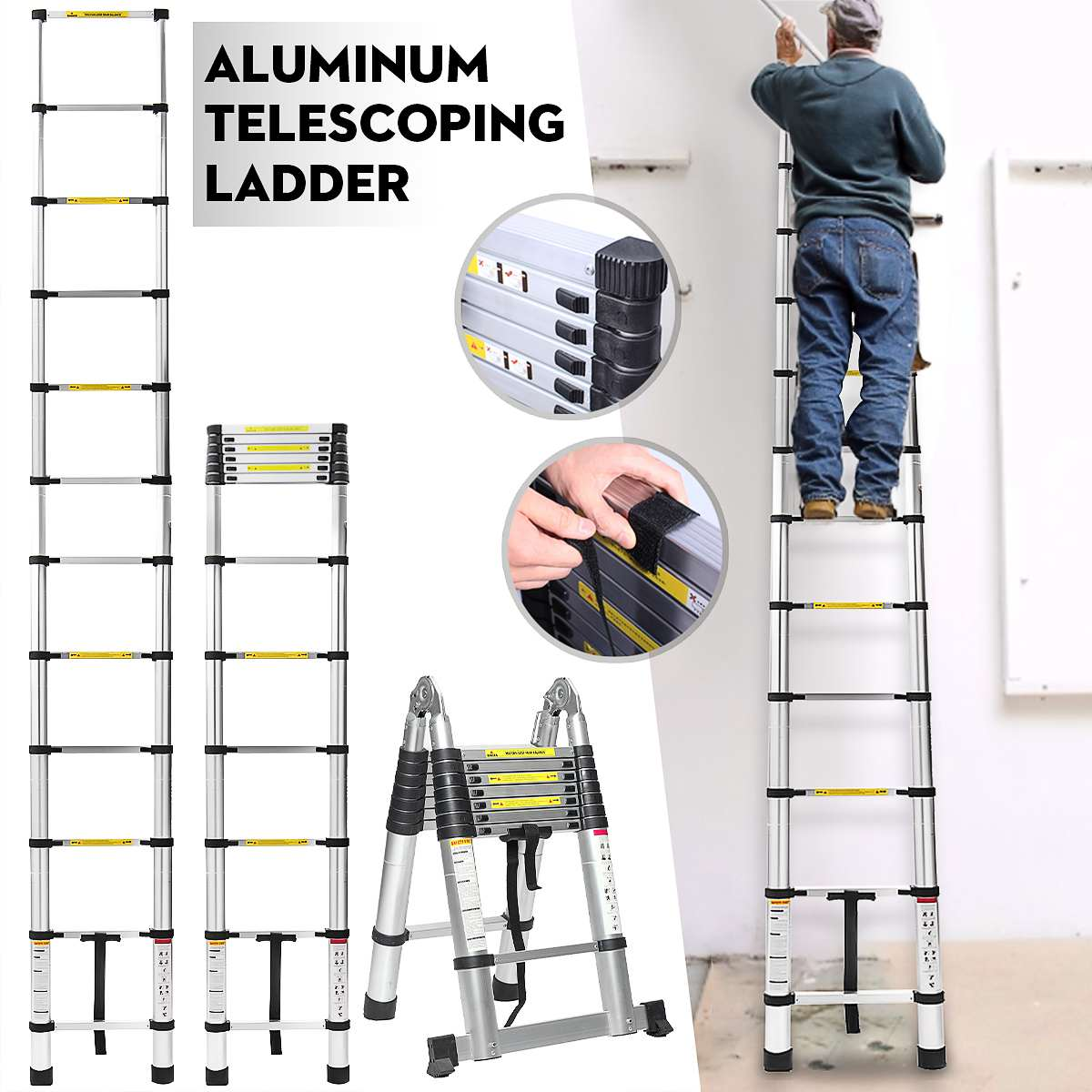3.8m Ladder Telescopic Alloy Aluminium Retractable Multifunctional Single Extension Ladder Foldable Adjustable Drywall Home