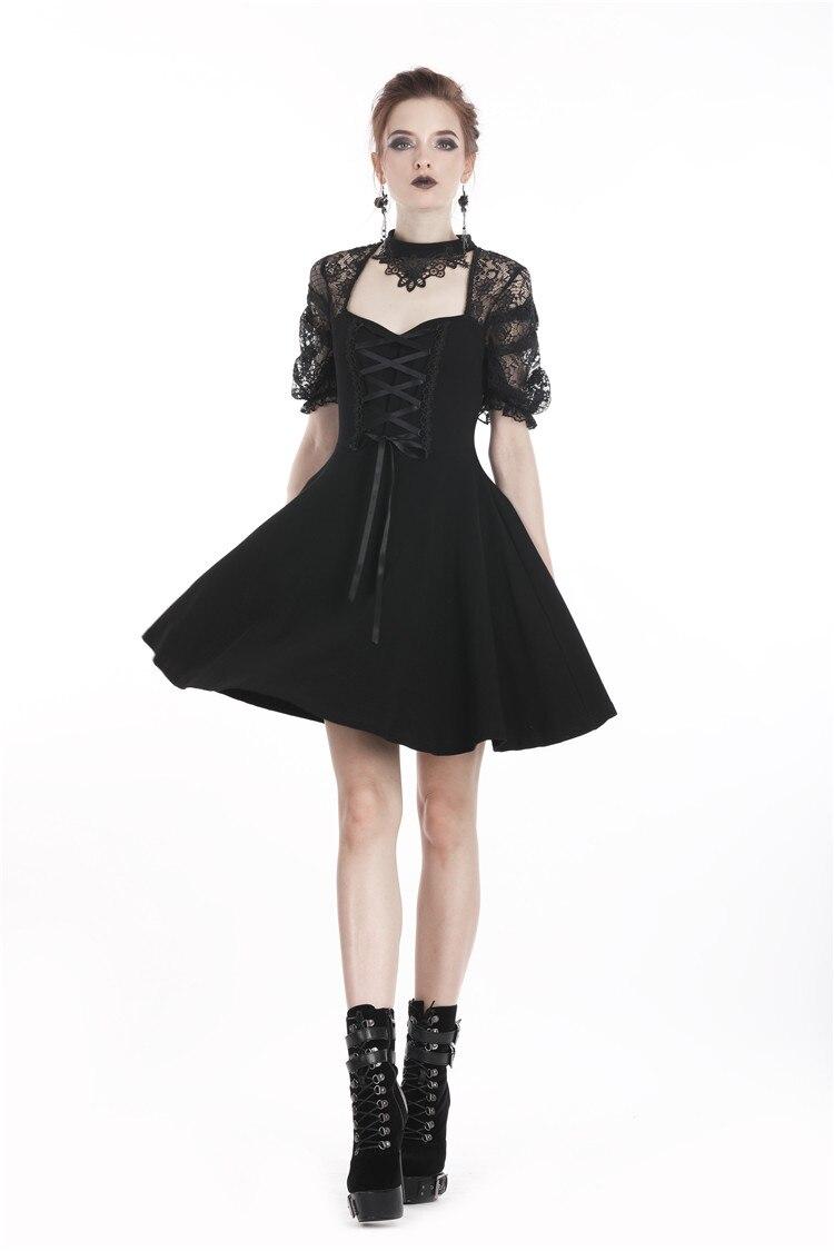 Darkinlove femme Lolita Floral dentelle dos nu velours noir petite robe DW298