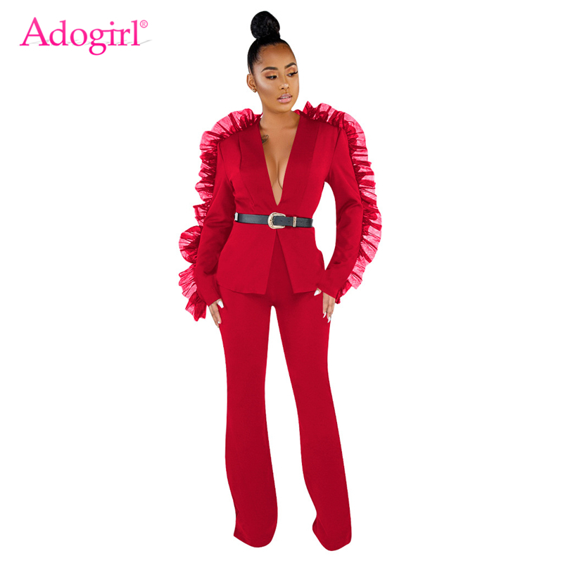 Adogirl Solid Mesh Ruffle Fashion Two Piece Set Long Sleeve Blazer Top Coat Wide Leg Pants Women Business Suit Casual Outfits