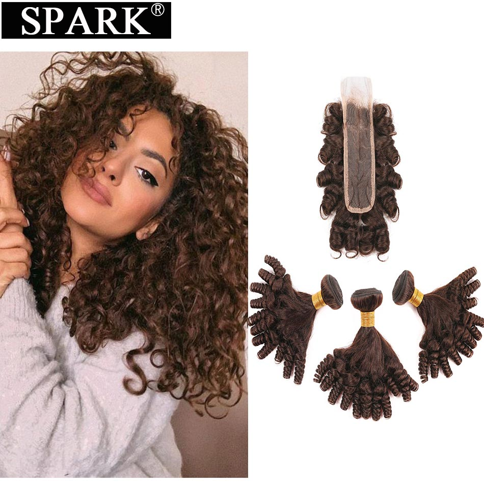 SPARK Brazilian Human Hair Bouncy Curly Hair 3 Bundles With Closure Remy Funmi Hair KIM K 2*6 Closure With Bundles Brown Color