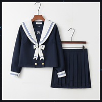 2020 Japanese School Uniforms Anime COS Sailor Suit Tops+tie+skirt JK Navy Style Students Clothes for Girl Short Long Sleeve