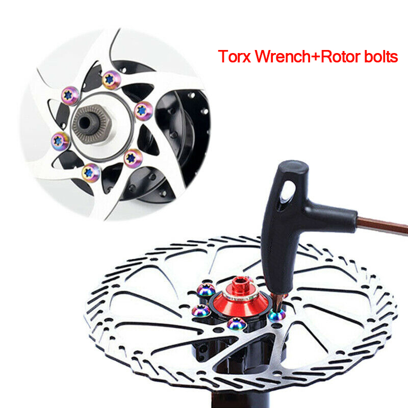 12PCS M5x10mm Disk Brake Rotor Bolts T25 Torx Titanium Bicycle Parts MTB Mountain Bike Brake Rotor Ti Screw