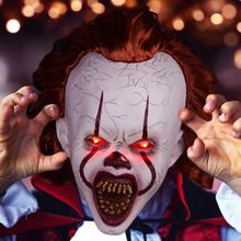 Adult Horror Clown Joker Stephen Realistic Latex Costume Mask Scary Halloween Cosplay Party Decoration Props Mask White цена и фото