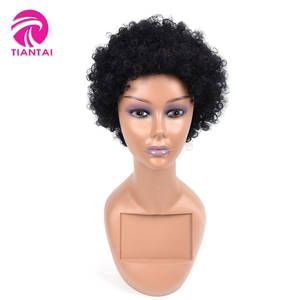 TIANTAI Wigs Short Human-Hair Natural-Color Kinky Black Remy Women 100%Brazilian